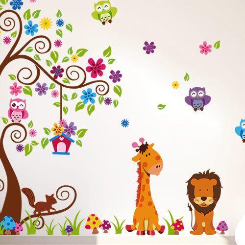 rimovibile muro bambini camera da letto tv impostazione adesivi da muro a muro amico animale gufo jm7251ab spedizione gratuita