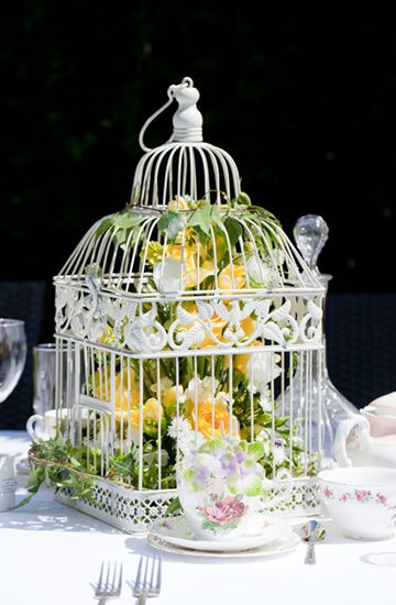 Birdcage wedding flowers
