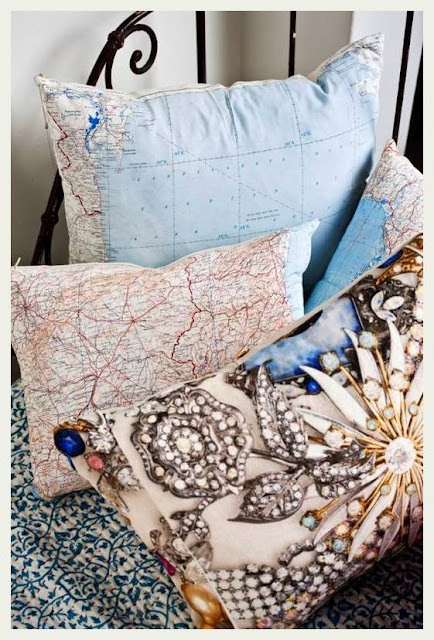 map pillows...so many ideas for maps