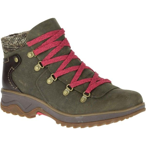 Merrell Women's Eventyr Bluff Waterproof Bungee Cord Hiking Boots &... (220 CAD) ❤ liked on Polyvore featuring shoes, boots, ankle booties, ankle boots, green, high heel boots, green booties, high heel bootie, leather lace up ankle boots and high heel ankle boots