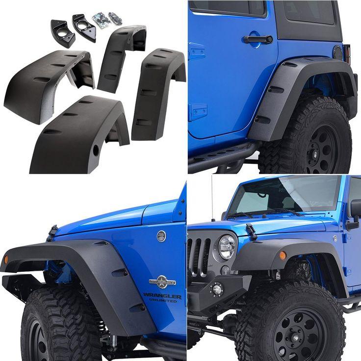 Amazon.com: E-Autogrilles 17194 Wide Pocket Black Front+Rear Fender Flares 07-15 Jeep Wrangler JK 4pcs Set: Automotive