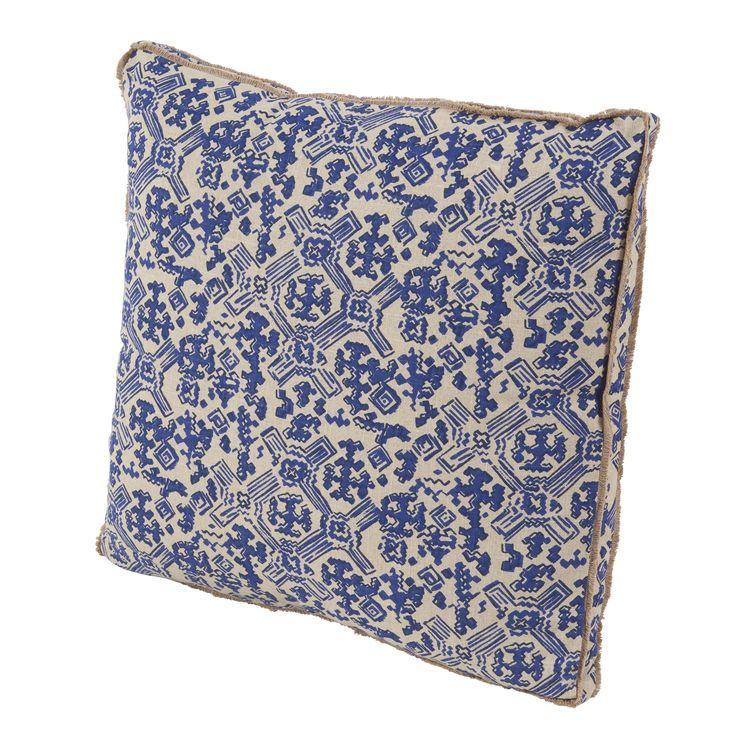 Indigo Blue Ancient Pattern Pillow with Double Eyelash Fringe
