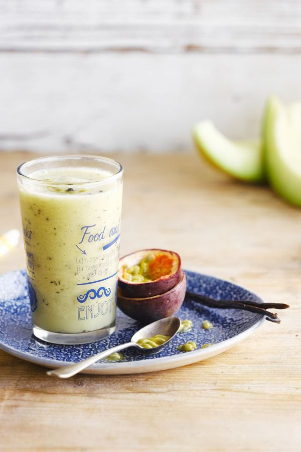 Alpro Almond Original drink and fruit blended together makes for a tasty brekkie or afternoon snack
