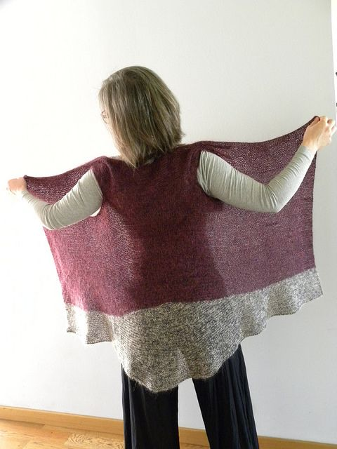 Simple knit, top-down. Lace-weight yarn on large needles. Pattern for purchase on Ravelry.