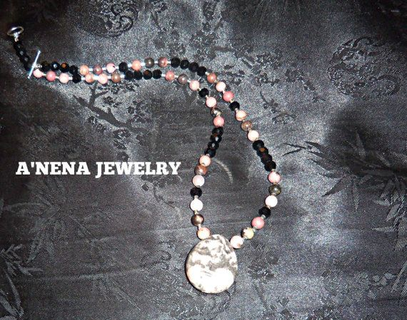 """******Woman's Necklace********************  Genuine Faceted Azabache, Rhodonite, 925 Sterling Silver Beads and Closure """"Shine""""   by ANenaJewelry $417.77"""