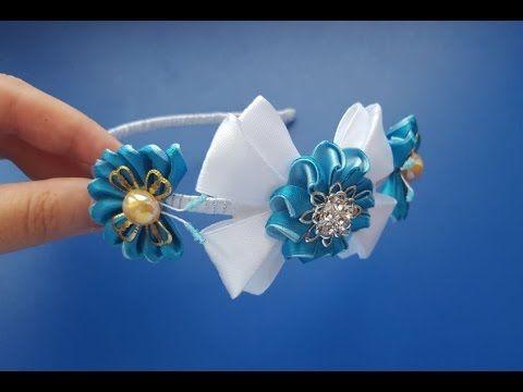 Канзаши ШКОЛЬНИЦА заколка автомат Мастер класс цветы из атласных лент / Floret DIY - YouTube
