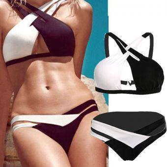 De Mujeres Sexy Lady baño bikini sujetador y Bottoms Negro+Blanco