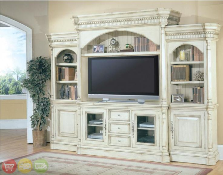 Westminster Large White Ornate TV Entertainment Center Wall Unit Parker House