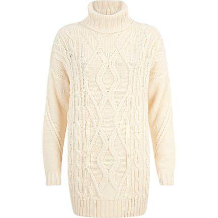 Cream roll neck cable knit tunic - knitwear - sale - women