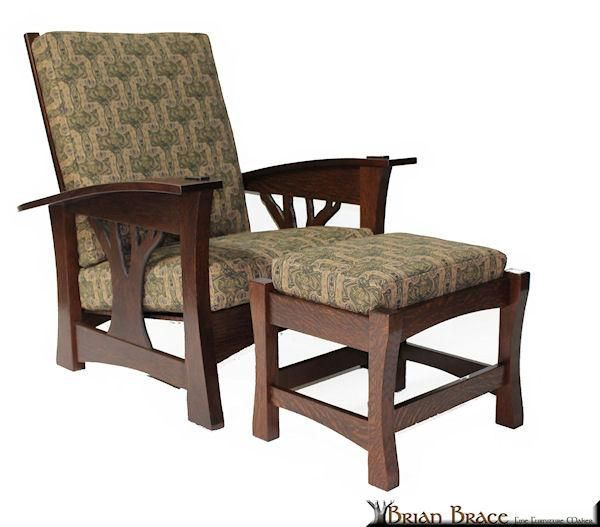 Arbor Bow Morris Chair And Bow Ottoman Brian Brace Fine Furniture Maker Part 75