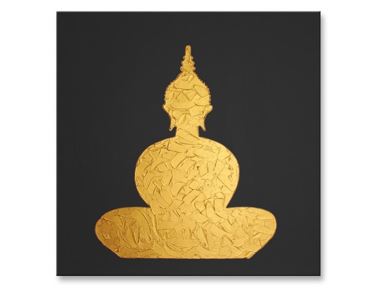 Buddha Gemälde, 70x70, Gold auf Dunkelgrau von MucArt auf DaWanda.com