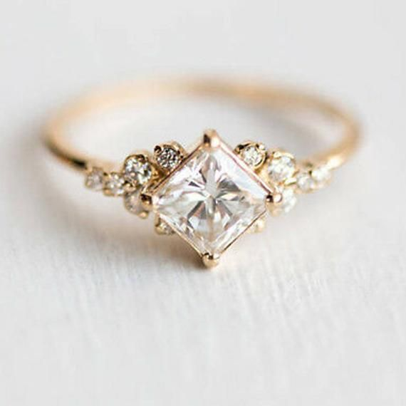 2 CT Princess Moissanite Diamond Ring 14KT Yellow Gold Solitaire Engagement Ring Proposal Ring