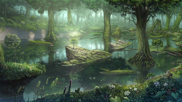 fantasy swamp | Forest swamp wallpaper