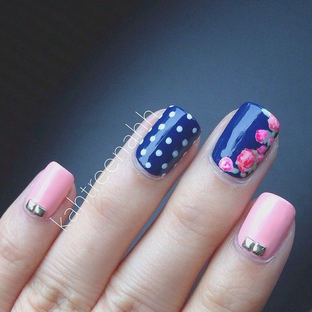 18 Vintage Floral Nail Designs You Will Love: Pink And Navy Blue Nail Design - Best 10+ Pink Blue Nails Ideas On Pinterest Glitter Nails