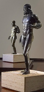 "The Bronzi di Riace (Italian for ""Riace bronzes"") are two famous full-size Greek bronzes of nude bearded warriors, cast about 460–430 BC and housed by the Museo Nazionale della Magna Grecia in Reggio Calabria, Italy. However, from 2009, the bronzes are visible in the Palazzo Campanella, seat of the Regional Council of Calabria (Consiglio Regionale della Calabria), where they were brought due to the restoration of the Magna Grecia National Museum. #Art #Bronzes"