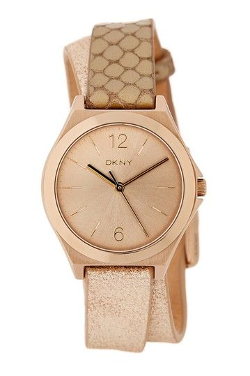 Image of DKNY Women's Parsons Round Leather Strap Watch