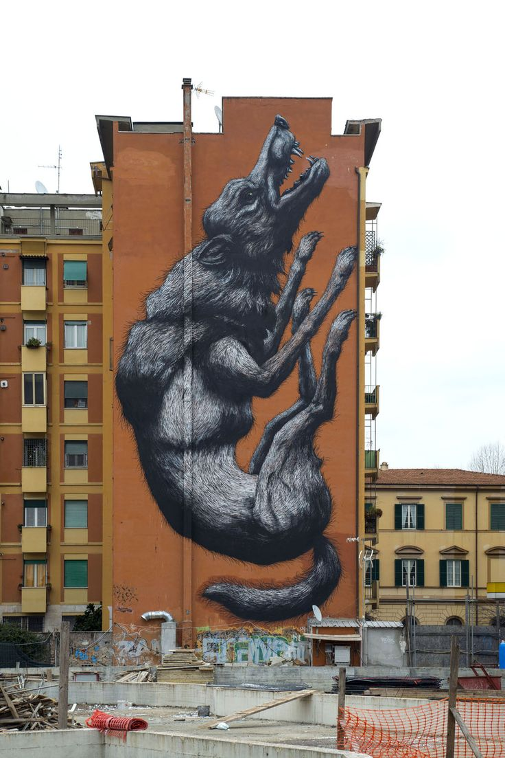 StreetArt Roma: Jumping wolf | Roa | 2014 | Location: Testaccio | #art #streetart #roma