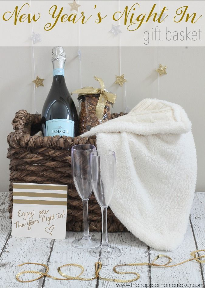 What a cute gift! New Year's Night In gift basket!