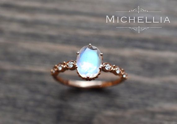 Rose Gold Moonstone Engagement Ring with door MichelliaDesigns
