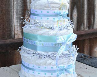 Deux couches couches de gâteau jaune et bleu de par CreationsbyLumy