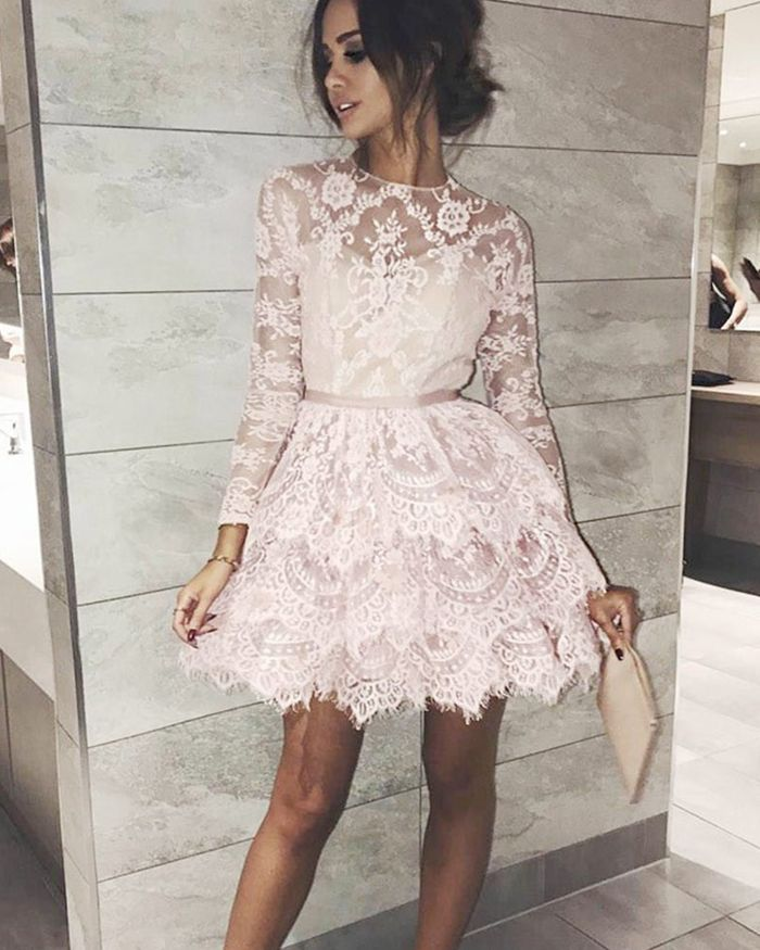 aaba475c24a69 Lace Ivory Layered Jewel Neck Sheer Homecoming Dress with Long ...