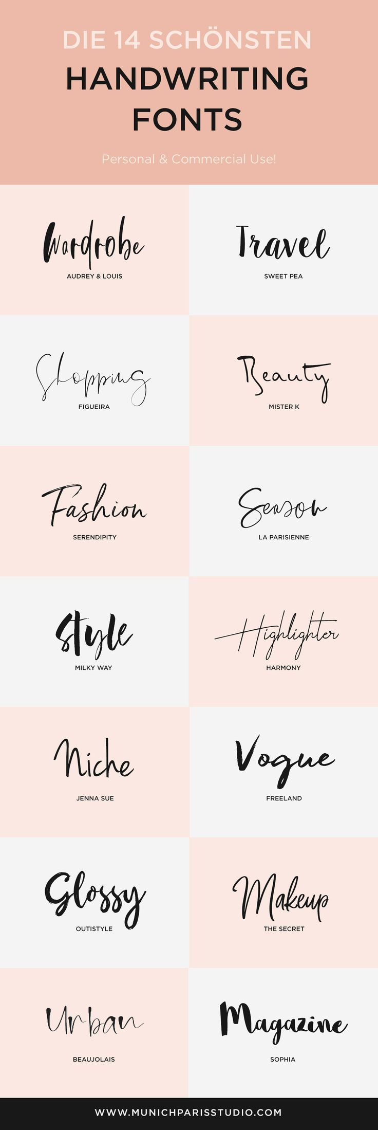 Die 14 schönsten Handschriften Fonts zum Download – MunichParis Studio – WordPress Themes & Tutorials For Bloggers