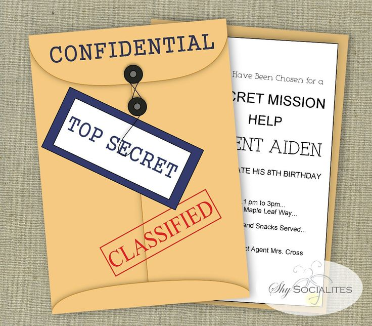 Spy Party Invitation | Secret Agent| Mystery | Instant Download | Editable Text PDF that You Edit Yourself In Adobe Reader by ShySocialites on Etsy https://www.etsy.com/listing/248081272/spy-party-invitation-secret-agent