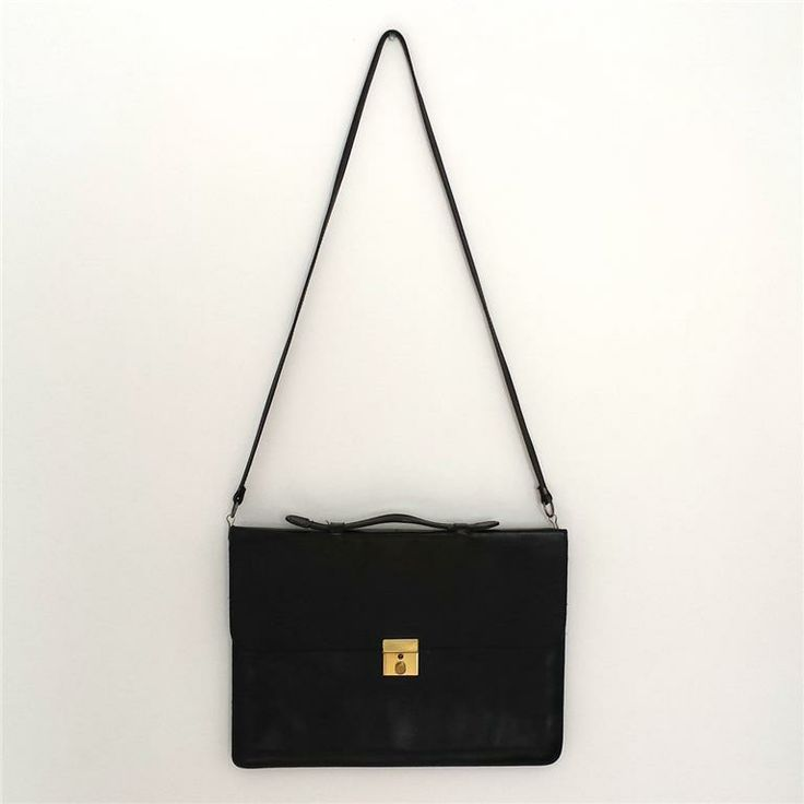 Vintage svart skinn portfölj (vintage retro trend väska) på Tradera.