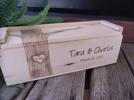 Wedding Wine Box for Rustic Wedding With by willowroaddesigns,