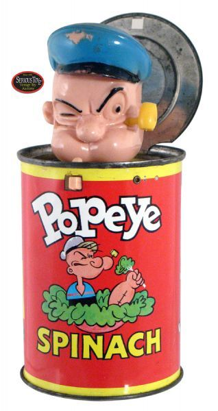 """Popeye Spinach Can"" Jack in The Box, 1957, Mattel, 7.5"" open, tin litho with hand plastic figure; typical paint wear to hat, bare metal areas tarnished, C8"