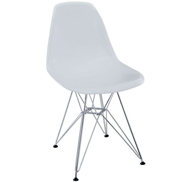 Beau LexMod Plastic Side Chair In White With Wire Base