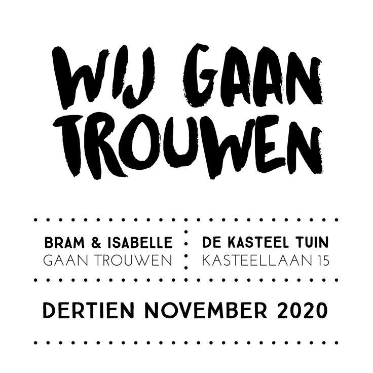 Zwartwitte trouwkaart met hippe typografie. Prachtig op oud-hollands papier en gekleurde envelop!