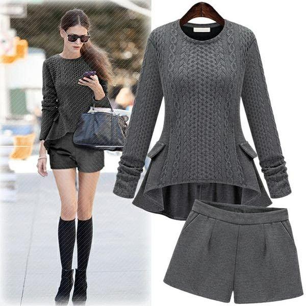 New Slim  Knitted 2  Suit Female 2 Piece Set Women Plus Size XL-5XL 2017 Autumn Winter Clothing Set Ruffles Sweater + Shorts Wwe.nicolebrooklynsclosetshop.com