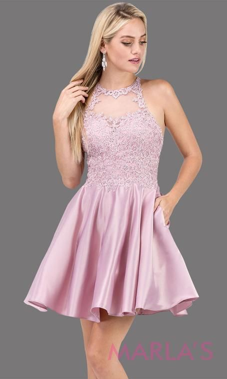 15c521340e 3028.4-Short high neck dusty pink grade 8 grad dress with satin skirt &  pockets. Light pink graduation dress is perfect for confirmation,  quinceanera damas, ...