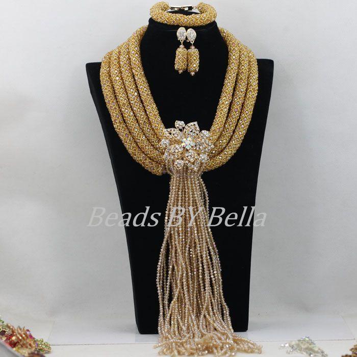 Fabulous Bridal Lace Jewelry Sets Big Nigerian Wedding African Beads Jewelry Set Braid Crystal Necklace Set Free Shipping ABF365