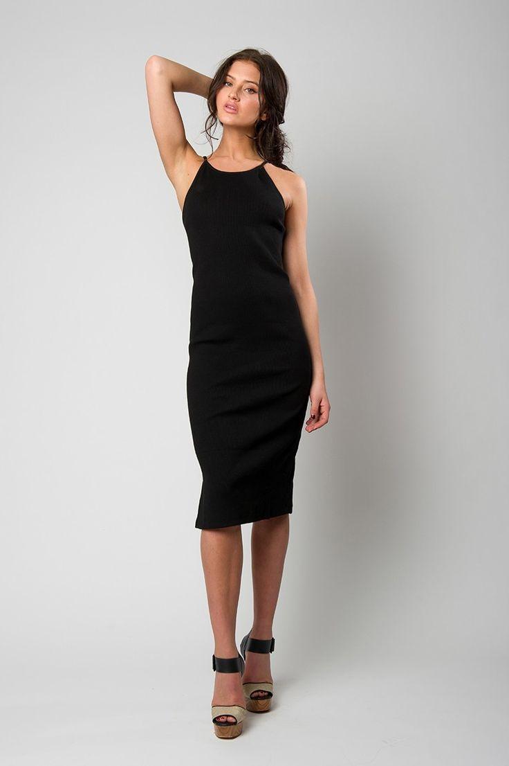 Ribbed black, high neck dress