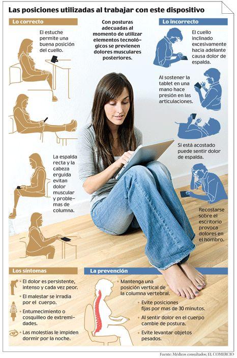 Ergonomía en el uso de tablets #infografia #infographic #health #tablets