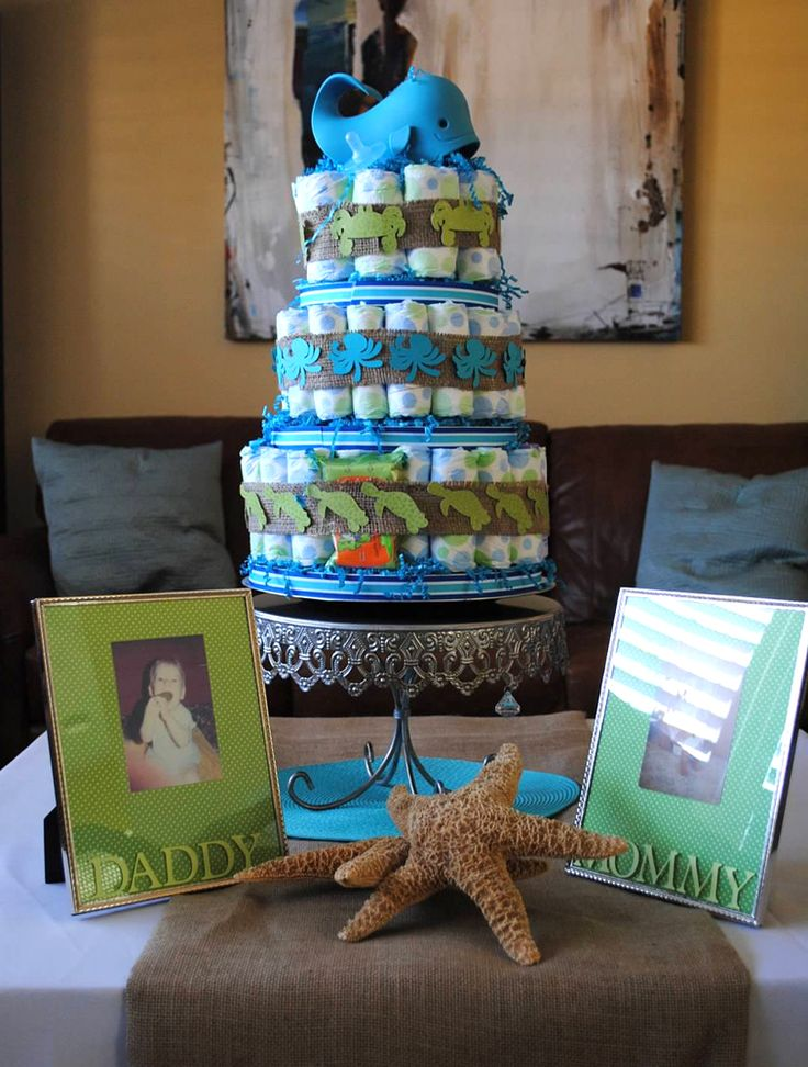 Really cute diaper cake for a fish themed baby shower for Fish themed bathroom