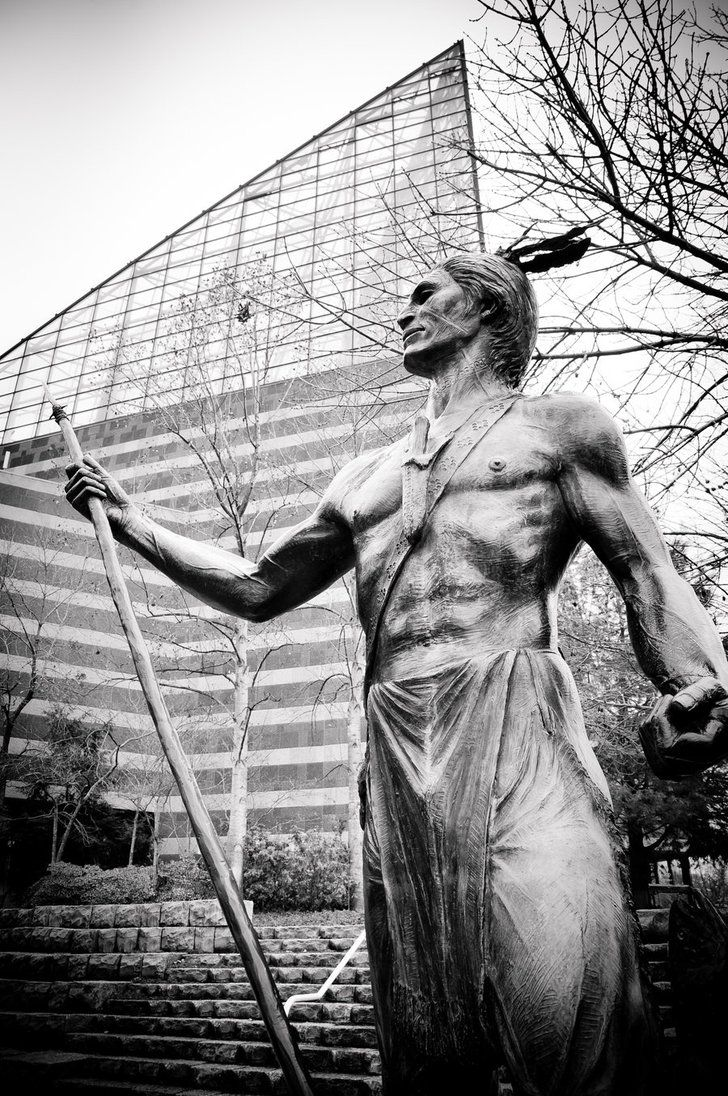 Cherokee Indian Statue outside Tennessee Aquarium in Chattanooga, Tennessee
