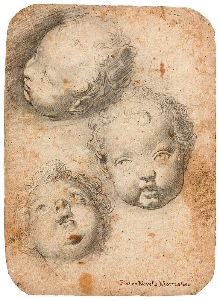 Pietro Novelli (1603-1647). Study of three putto heads, Black chalk, 34 x 25 cm.