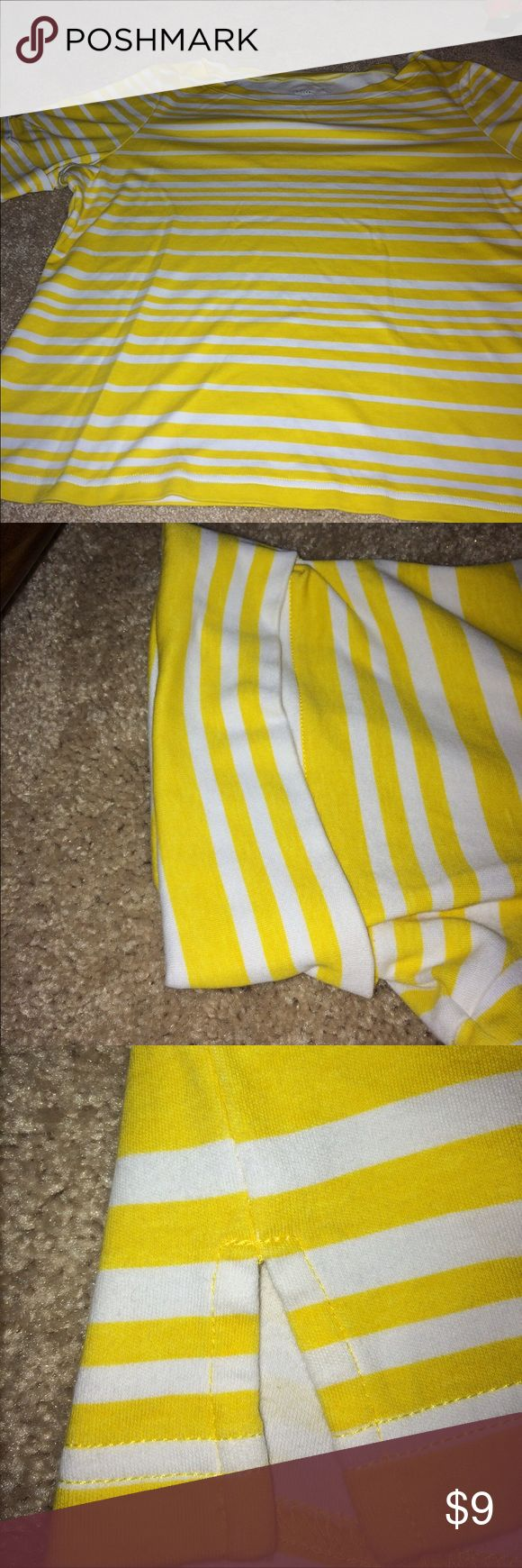 Cotton pull over shirt Yellow&White strip cotton shirt. 3/4 length sleeves. Kim Rogers Tops Tees - Short Sleeve