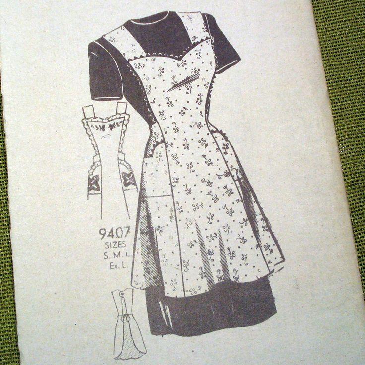 Vintage Apron Patterns | 30s or 40s Vintage APRON Pattern - Marian Martin 9407 - Factory Folds