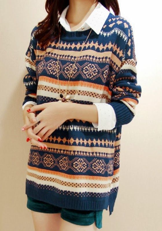 Multicolor Geo Print Sweater | Fashion Frenzy