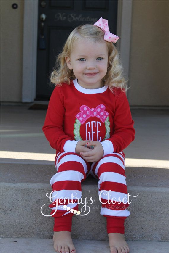 Christmas Pajamas. Appliqued or Embroidered Xmas pjs for babies, toddler, children. Striped pajamas. Red Green Holiday Monogrammed PJs. on Etsy, $35.00