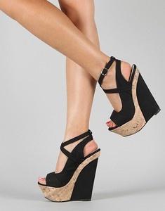 just awesome...  Liliana Peace-3 Open Toe Platform Wedge black
