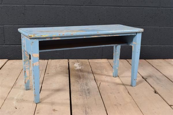 Small Distressed Blue School Bench | Vinterior   #vintage #bench