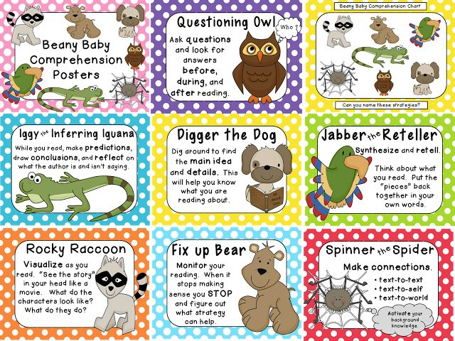 Beany Baby Reading Comprehension Posters
