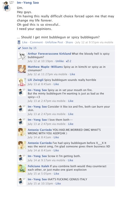 That is so how Spain would speak online! XD (South Korea's Facebook - Hetalia)