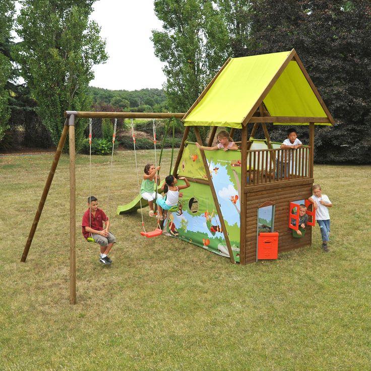 Aire de jeux en bois pour enfant - 4 agrès + maisonnette Naturel - Grand chêne - Les portiques, balançoires et stations de jeux - Meubles de jardin - Tous les meubles - Décoration d'intérieur - Alinéa