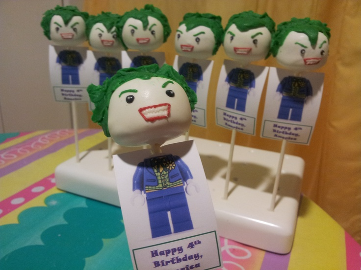 Joker Cake Pops (Batman)cute for bday invites